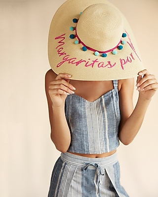 Express Womens Margaritas Por Favor Floppy Hat