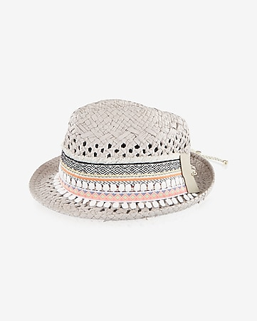 embroidered straw pom pom fedora