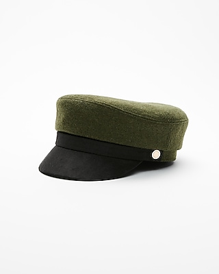 Express Womens Green Faux Suede Brim Cap