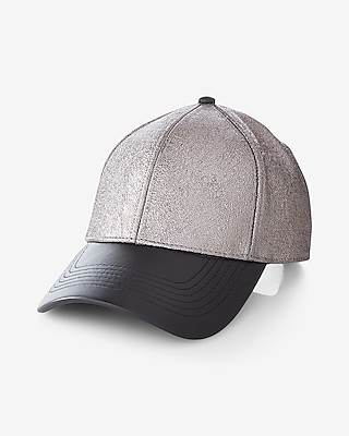 Express Womens (Minus The) Leather Brim Metallic Baseball Hat