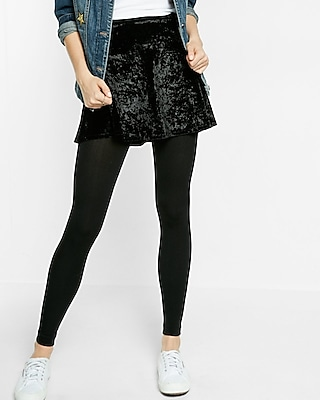 Express Womens Opaque Fleece Ankle Tights
