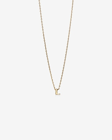 gold mini l initial necklace