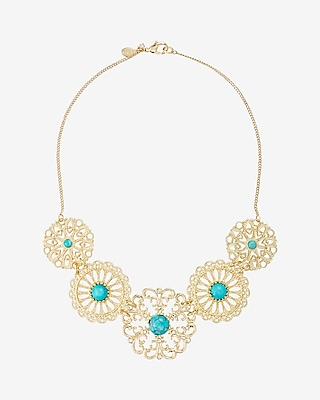Express Womens Turquoise Filigree Station Necklace