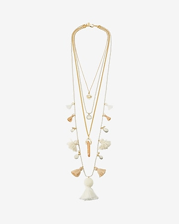 nested tassel drop necklace