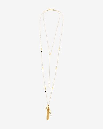 hi-lo beaded tassel necklace