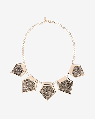 Express Womens Glitter Bib Necklace Gold