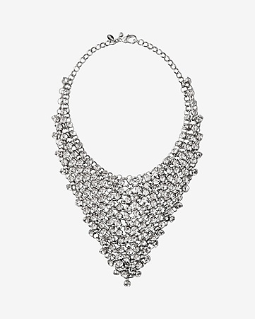 crystal net bib necklace
