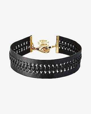 Express Womens Braided Leather Choker Necklace