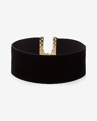 Express Womens Wide Velvet Choker Necklace