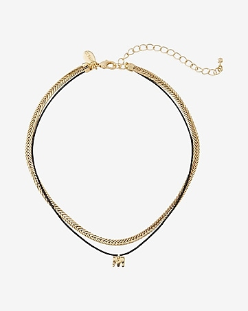 gold and black block m initial choker necklace