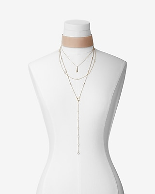 Express Womens Layered Velvet Choker Necklace