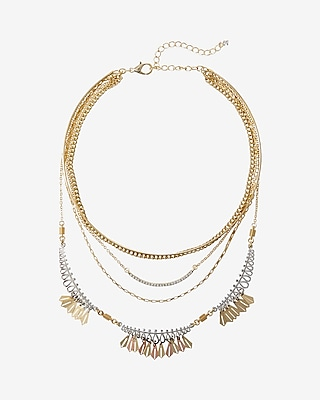 Express Womens Two Tone Layered Necklace