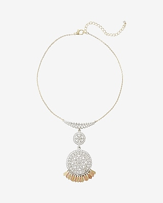 Express Womens Two Tone Double Filigree Drop Necklace