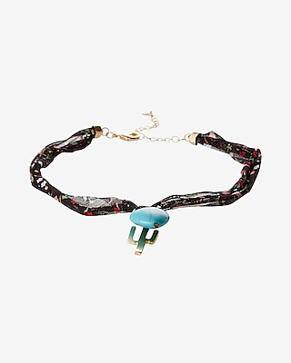 Express Womens Cactus And Turquoise Choker Necklace