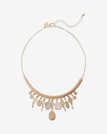 stone embellished curved statement necklace