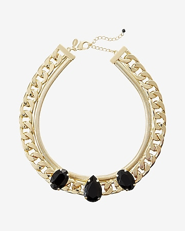 faceted stone status link chain collar necklace