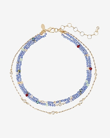 three row beaded choker necklace