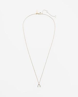 Embellished Wishbone Pendant Necklace