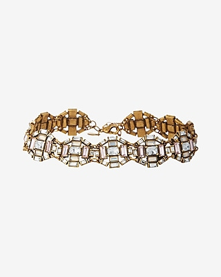 Express Womens Mixed Stone Deco Choker Necklace