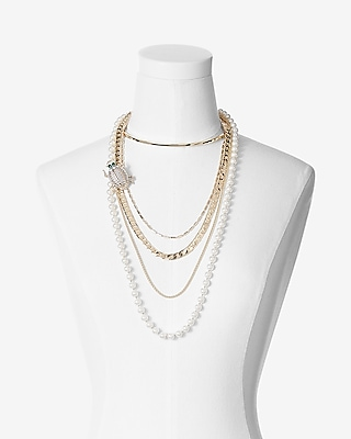 Express Womens Layered Pearl Beetle Pendant Collar Necklace