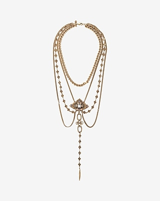 Express Womens Layered Ornate Y-Neck Necklace
