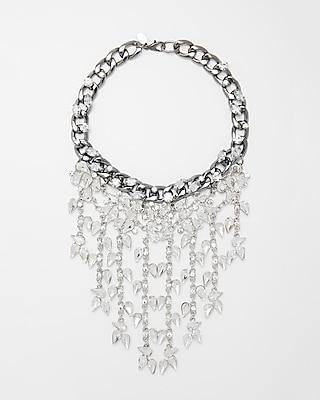 Express Womens Teardrop Stone Fringe Necklace