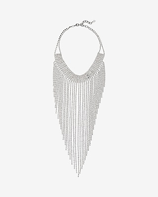 Express Womens Rhinestone Fringe Collar Necklace