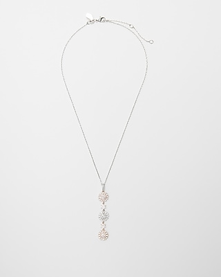 Express Womens Tricolor Stone Linear Pendant Necklace