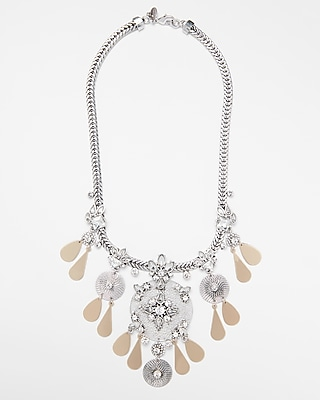 Express Womens Encrusted Filigree Statement Necklace