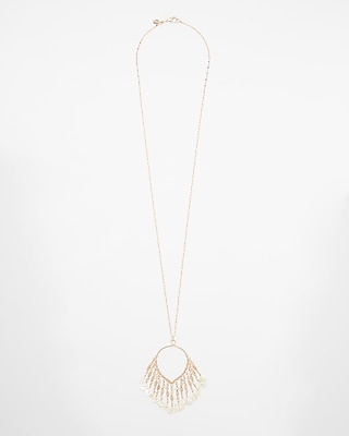 Express Womens Fringe Shell Pendant Necklace
