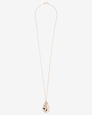Express Womens Textured Teardrop Pendant Necklace
