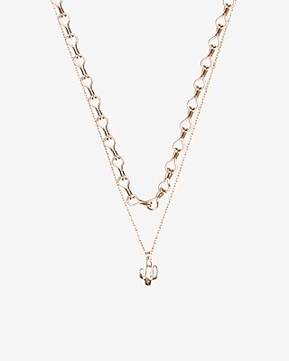 Express Womens Two Row Cactus Pendant Necklace