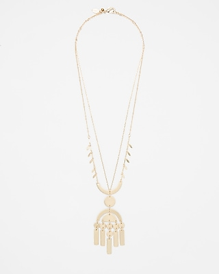Express Womens Layered Geometric Pendant Necklace