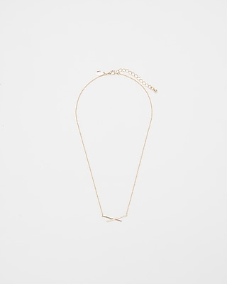 Express Womens Pave X Pendant Necklace