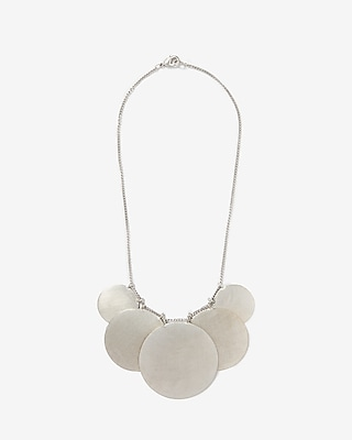 Express Womens Matte Metal Disc Statement Necklace