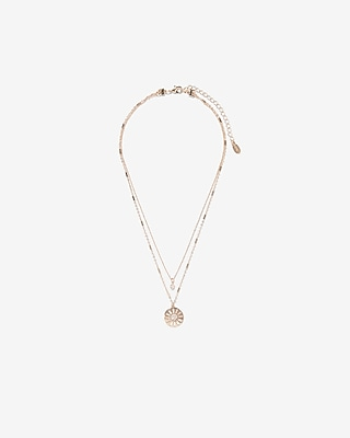 Express Womens Cut-Out Disc Pendant Necklace