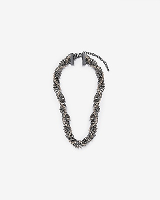 Express Womens Twisted Baguette Rhinestone Necklace
