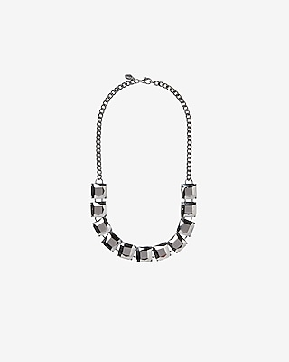Express Womens Square Stone Station Necklace
