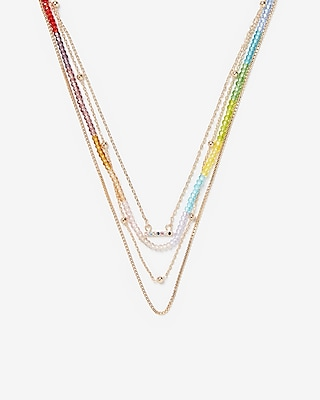 Express Womens Rainbow Layered Necklace