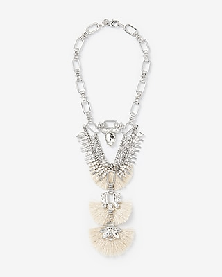Express Womens Rhinestone Tassel Bib Necklace
