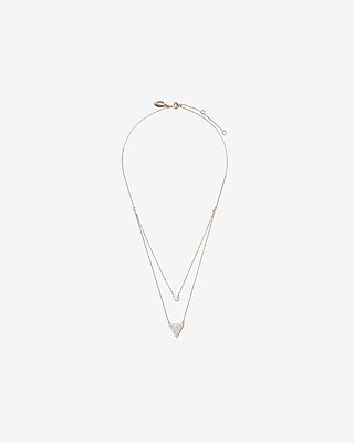 Express Womens Cubic Zirconia Triangle Layered Necklace