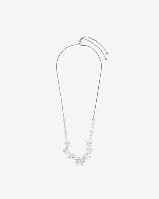 Express Womens Cubic Zirconia Mixed Station Pull-Slide Necklace