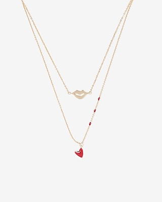 Express Womens Two Row Lip Heart Charm Necklace