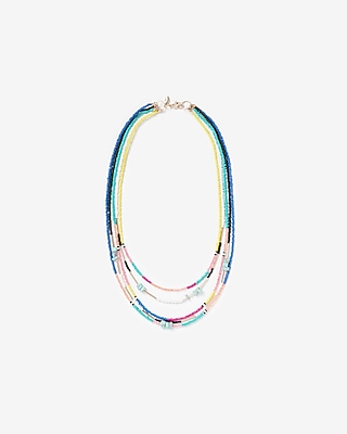 Express Womens Multi-Color Five Row Beaded Chain Necklace