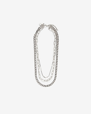 Express Womens Three Row Multi-Layered Chain Necklace Silver Women's  Silver