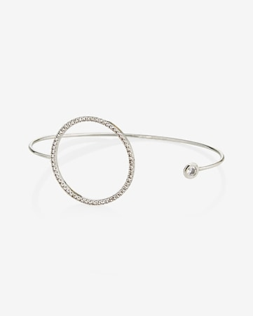 pave circle open bangle bracelet