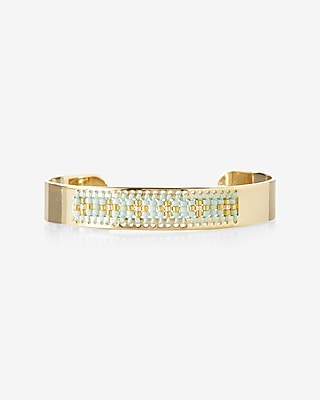Express Womens Beaded Inset Cuff Blue