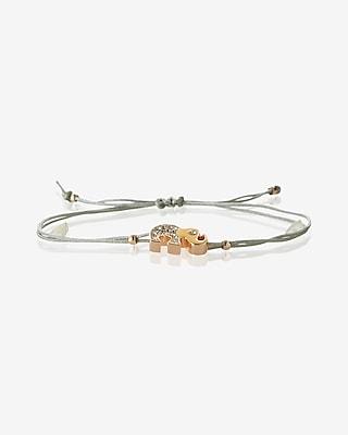 Express Womens Pave Elephant Pull-Cord Bracelet