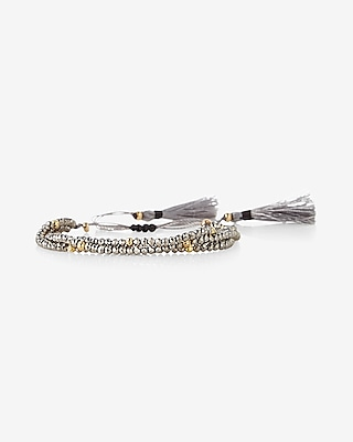 Express Womens Three Row Faceted Tassel Bracelet Silver