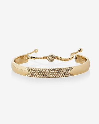 Express Womens Pull Chain Pave Bangle Bracelet